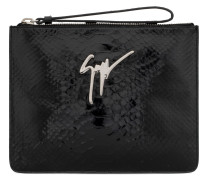 Black python-embossed calfskin leather clutch MARGERY