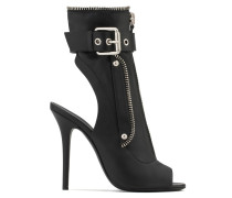 Black leather boot with zip and buckle KENDRA