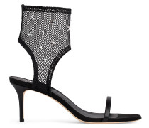 Black nappa and net fabric open toe boot AGNES