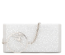 White suede clutch with crystals and metal logo BECKY CRYSTAL
