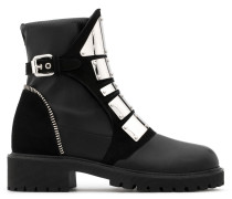 Black stretch leather boot with metal bars REGAN
