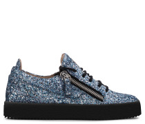 Blue fabric and leather sneaker with glitter GAIL GLITTER