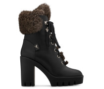 Black calfskin leather boot with lapin fur inside FREEDA HIGH