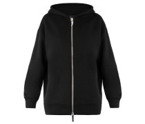 Black plush fabric hoodie NORWOOD