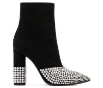 Black suede boot with crystals and chunky heel RAINA