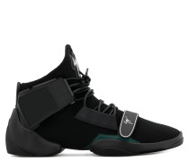 Black stretch high-top sneaker with strap LIGHT JUMP MT1