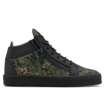 Green camouflage fabric mid-top sneaker KRISS