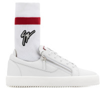 White calfskin leather low-top sneaker with white and red sock with logo FRANKIE PLUS