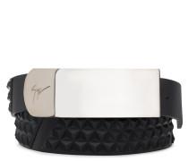 Black 3D calfskin leather belt LANE