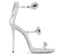 Mirrored silver patent leather sandal with mouths HARMONY BOUCHE