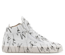 White fabric mid-top sneaker with black logo motif THE SIGNATURE