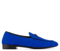 Blue suede loafer with 'lightning' metal detail G -FLASH