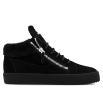 Black suede mid-top sneaker with fur inside COLE