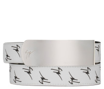 White calfskin and black logo motif belt LANE SIGNATURE