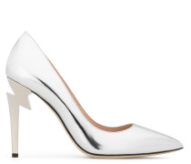 Mirrored silver patent leather pump G-HEEL