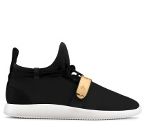 Suede sneaker with metal plate HAYDEN