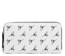 White fabric wallet with signature motif THE SIGNATURE