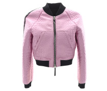 Women's rose crocodile-embossed satin jacket SYBILLE
