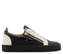 Black calfskin leather low-top sneaker with white patent leather insert FRANKIE