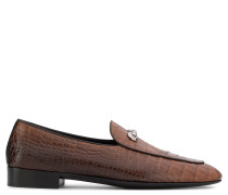Brown crocodile embossed leather loafer ARCHIBALD CLASSIC