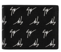 Black fabric wallet white signature motif THE SIGNATURE
