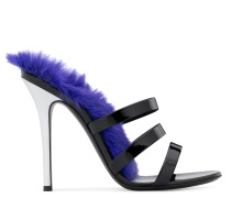Violet patent leather mule with lapin fur JANETTE