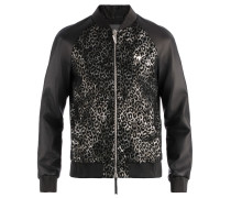 Men's leather upper and spotted fabric jacket LANCE