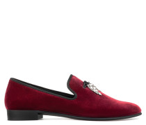 Red velvet loafer with crystal 'shark tooth' accessory SHARK