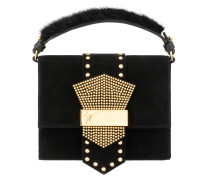 Black suede clutch with gold crystals ASTRID