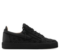Black 3D calfskin leather low-top sneaker KALEIDO