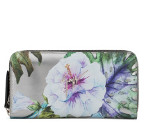 Silver patent leather wallet with printed flowers SPRING