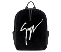 Black shearling fur backpack with logo CYRIL