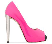 Fuxia patent leather open-toe pump SELINA