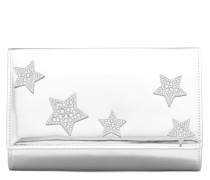Silver patent leather clutch with stars CLEOPATRA STAR
