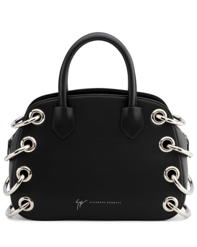 Black calfskin leather handbag G#18