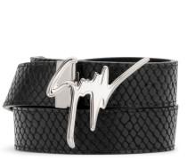 Black crocodile-embossed leather belt GIUSEPPE