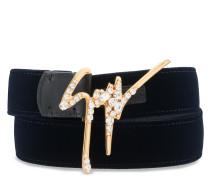 Velvet belt with crystals signature GIUSEPPE SPARKLE