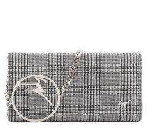 Black and white fabric clutch with metal logo BECKY