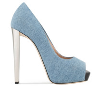 Denim open-toe pump SELINA