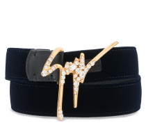 Dark blue velvet belt with crystals logo GIUSEPPE SPARKLE