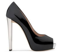 Black patent leather open-toe pump SELINA