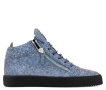 Blue fabric mid-top sneaker with glitter finishing KRISS GLITTER