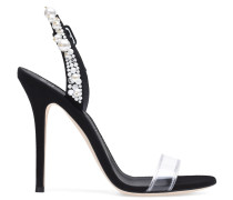 Plexi and black suede sandal with crystals ELIZA