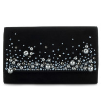 Black suede clutch with crystals VANESSA