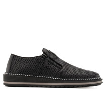 Black python-embossed calfskin leather loafer RON
