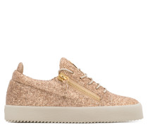 Brown fabric low-top sneaker with glitter finishing CHERYL GLITTER