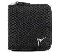 Black crocodile-embossed leather wallet TOM
