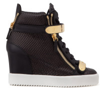 Black embossed-crocodile wedge sneaker JENNIFER
