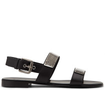 Leather sandal with plate ZAK