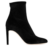 Black glitter velvet stretch fabric boot CELESTE
